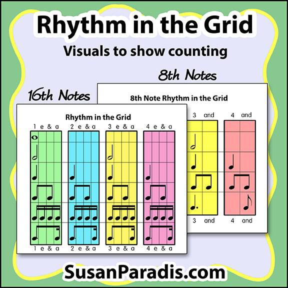 Rhythm in the Grid is a set of two posters showing how to count sixteenth and eighth notes.