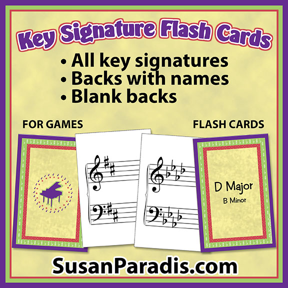 photograph relating to Piano Flash Cards Printable called Most important Signature Playing cards with colourful backs - Susan Paradis