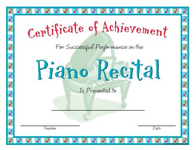 Free printable piano recital free printable piano recital certificates music performance certificate template images certificate design yadclub Choice Image