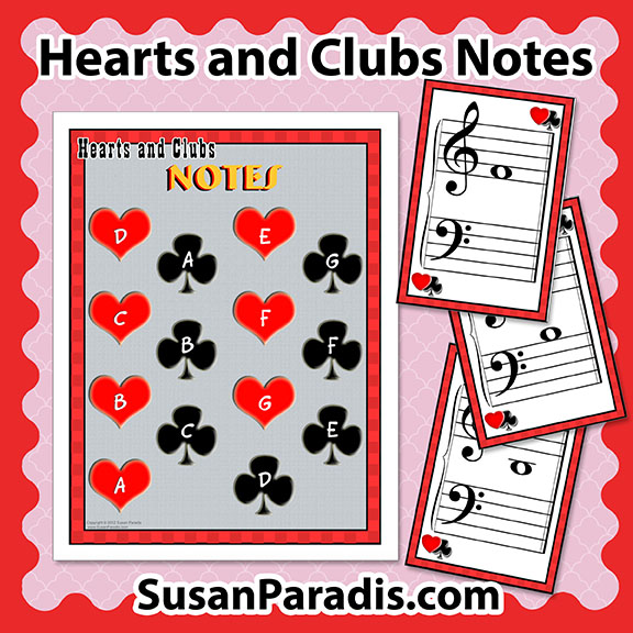 Hearts and Clubs Notes and Keyboards Game