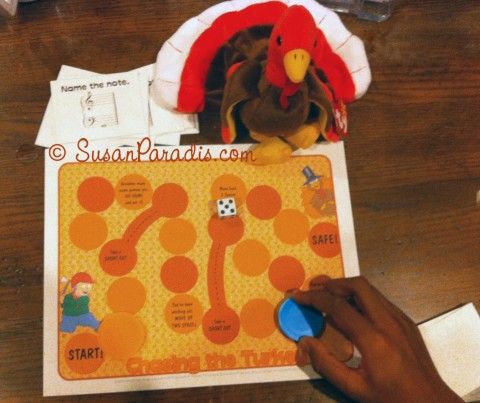 Chasing the Turkey is a Thanksgiving-themed music theory board game for piano students.