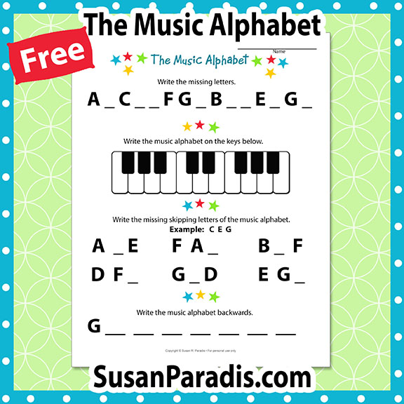 I Can Write the Music Alphabet Worksheet - Susan Paradis Piano ...