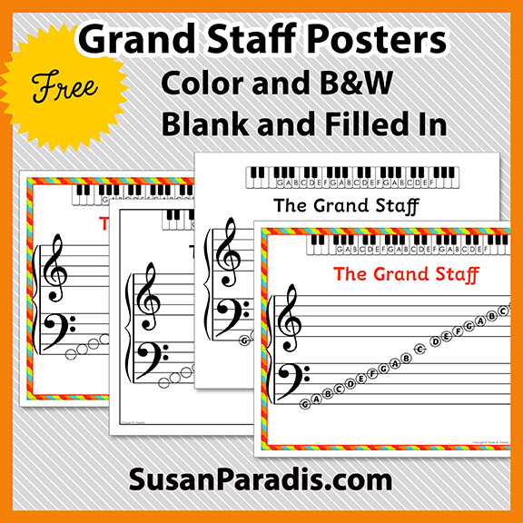 photo regarding Grand Staff Printable identified as A Easy Fastened of Grand Workforce Printables - Susan Paradis Piano