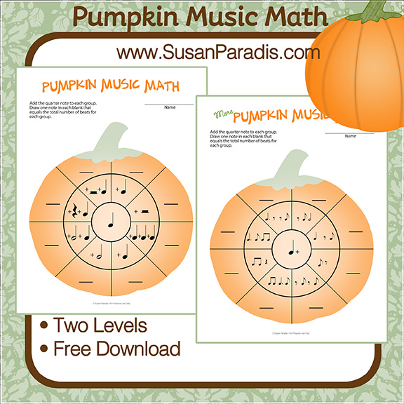 Rhythm worksheets with a pumpkin theme