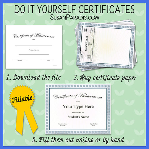 Templates for ready-made Certificate Paper - Susan Paradis Piano ...