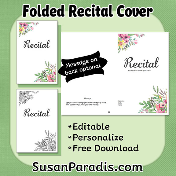 Personalize a recital program susan paradis piano teaching resources yadclub Choice Image
