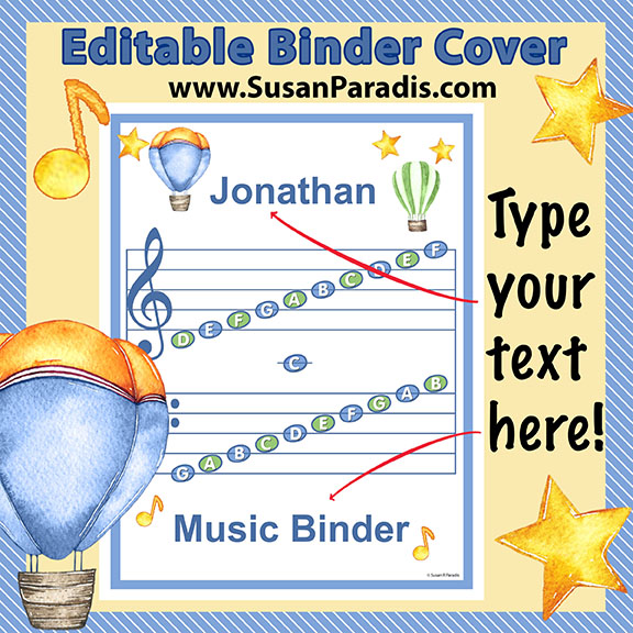 Personalize a Grand Staff Binder Cover - Susan Paradis Piano ...