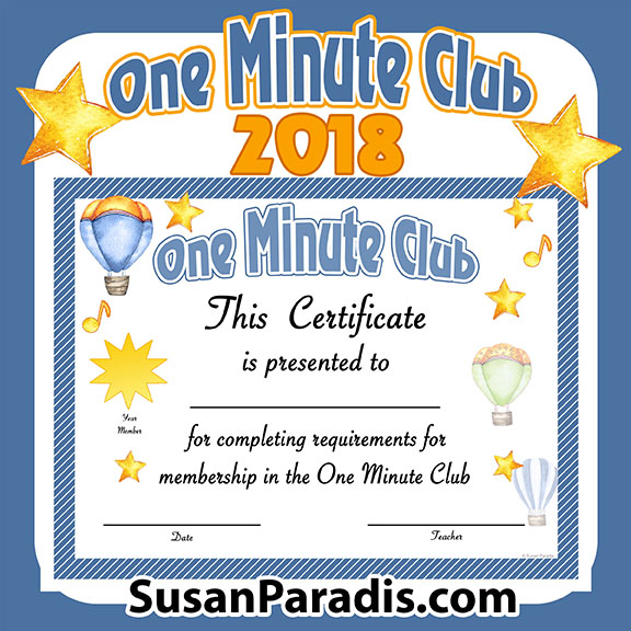 This is a certificate for students who have completed the One Minute Club