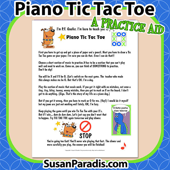 Piano Tic Tac Toe is funny poster that explains how to keep track of practicing with a Tic Tac Toe Game