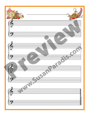 Pretty Autumn staff paper for student compositions.